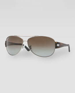 Ray-Ban Polarized Aviator Sunglasses, Matte Havana