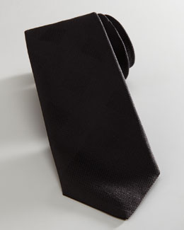 Burberry Tonal Check Skinny Tie, Black