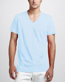 Theory Bedros Jersey V-Neck Tee, Light Blue