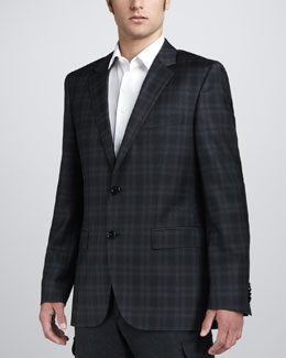 Hugo Boss Plaid Blazer, Gray