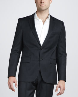 Hugo Boss Plaid Virgin Wool Blazer, Charcoal