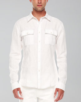 Michael Kors  Contrast-Stitch Linen Shirt, White