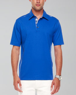 Michael Kors Woven-Trim Polo, Royal