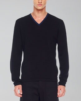 Michael Kors Tipped V-Neck Sweater, Black