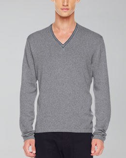 Michael Kors  Tipped V-Neck Sweater, Ash Melange