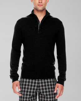 Michael Kors  Leather-Trim Half-Zip Sweater, Black