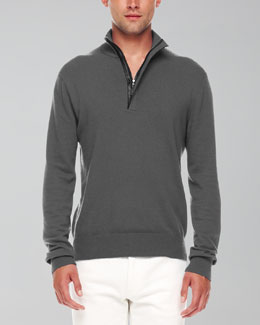 Michael Kors  Leather-Trim Half-Zip Sweater, Ash Melange