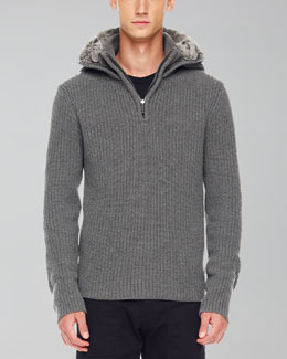 Michael Kors Rabbit-Fur-Lined Hoodie