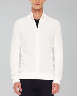 Michael Kors Thermal Zip Sweater, White