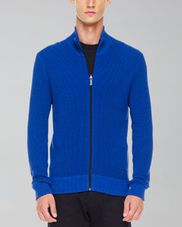 Michael Kors Thermal Zip Sweater, Royal
