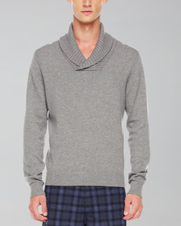Michael Kors  Shawl-Collar Sweater, Heather Gray