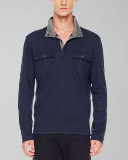 Michael Kors  Two-Pocket Jersey Pullover, Navy