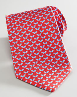 Salvatore Ferragamo Elephant Election Tie, Red