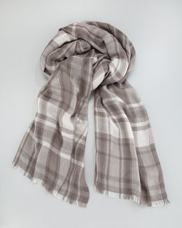 Loro Piana Lightweight Plaid Scarf, Taupe