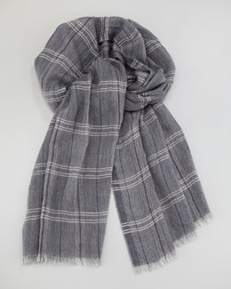 Loro Piana Lightweight Plaid Cashmere Scarf, Blue