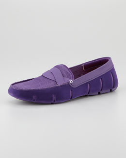 Swims Braided Rubber/Mesh Penny Loafer, Purple