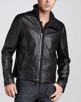 John Varvatos Star USA Leather Motorcycle Jacket