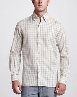 Ermenegildo Zegna Check Cotton/Linen Shirt