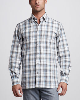 Ermenegildo Zegna Plaid Button-Down Shirt, Canary/Steel Blue