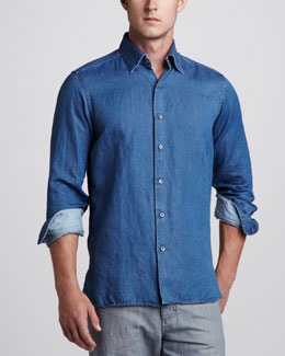 Ermenegildo Zegna Cotton/Linen Sport Shirt, Denim