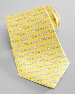Salvatore Ferragamo Elephant & Mouse Tie, Yellow