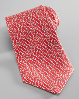 Salvatore Ferragamo Anchor-Print Silk Tie, Red