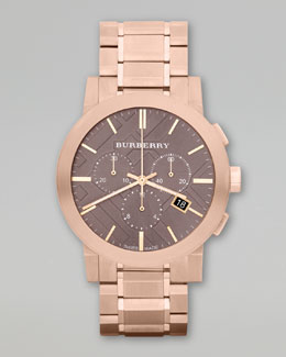 Burberry Ion-Plated Chronograph Watch, Rose Golden