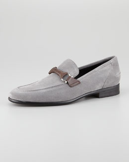 Salvatore Ferragamo Twist Suede Braid Bit Loafer, Gray