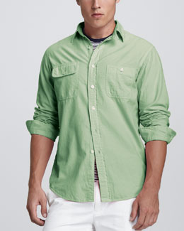 Polo Ralph Lauren Custom-Fit Two-Pocket Shirt, Light Kiwi