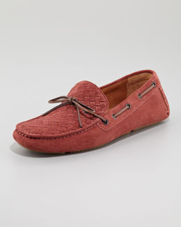 Bottega Veneta Suede Woven Driver, Light Red