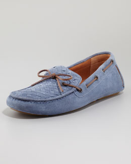 Bottega Veneta Suede Woven Driver, Light Blue