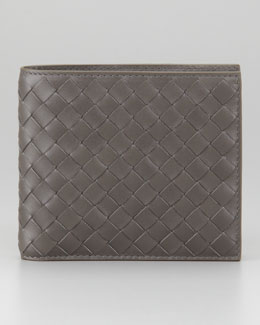 Bottega Veneta Basic Woven Wallet, Gray