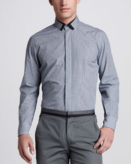 Lanvin Contrast-Trim Check Shirt