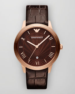 Emporio Armani Classic Embossed-Strap Watch, Brown