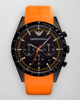 Emporio Armani Sportivo Tachymeter Watch, Orange Strap