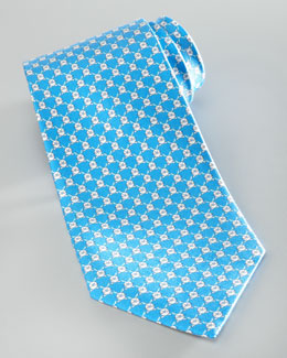 Salvatore Ferragamo Rabbit Silk Tie, Blue