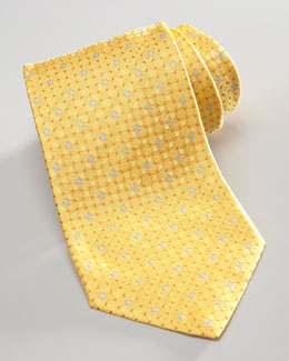 Salvatore Ferragamo Gancini/Dots Silk Tie, Yellow
