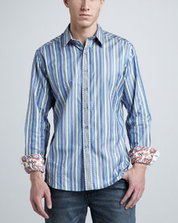 Robert Graham Striped Sport Shirt, Blue
