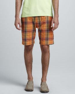 Robert Graham Topside Plaid Shorts, Orange