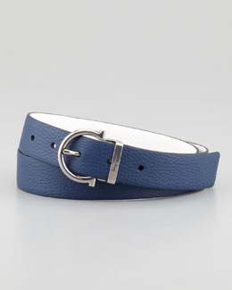 Salvatore Ferragamo Reversible Gancini Belt, Blue/White