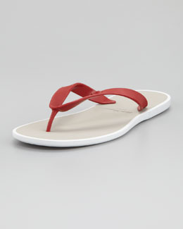 Salvatore Ferragamo Gym Rubber Thong Sandal, Red
