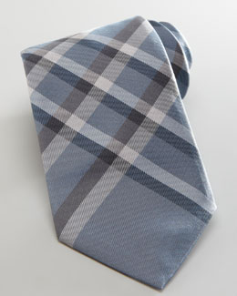 Burberry Check Tie, Pale Iris Blue