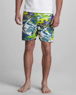 Etro Ocean-Print Swim Trunks