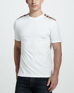 Burberry Brit Check-Shoulder Tee, Optic White