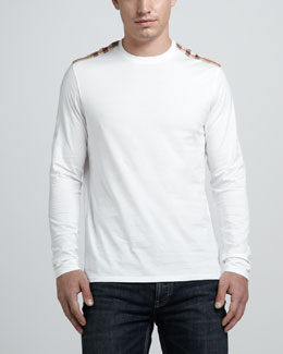 Burberry Brit Check-Shoulder Tee, White
