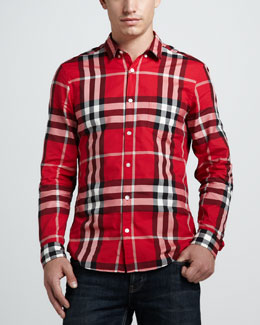 Burberry Brit Check Button-Down Shirt, Military Red