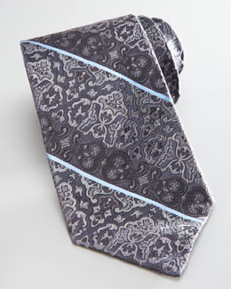 Robert Graham Paisley-Stripe Silk Tie