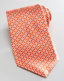 Brioni Neat Medallion Silk Tie, Orange