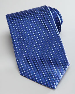 Brioni Dot-Print Silk Tie, Navy/White
