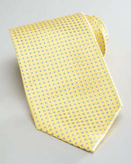 Brioni Neat Dot-Print Silk Tie, Yellow/Blue